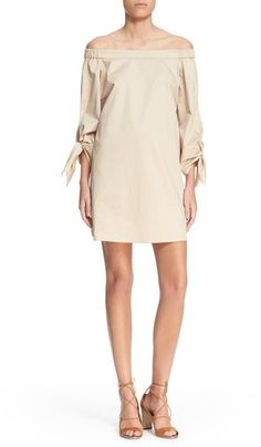 Tibi Off the Shoulder Cotton Shift Dress