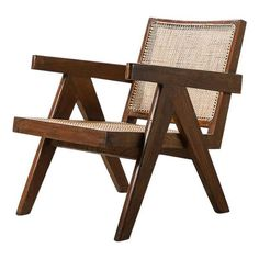 For Sale on - An iconic office armchair by Pierre Jeanneret for the administration buildings in Chandigarh, India, In teak and cane. Pierre Jeanneret, Chandigarh, Lounge Chair Design, Lounge Chairs, Low Chair, Modern Stools, French Chairs, Modern Armchair, Vintage Chairs