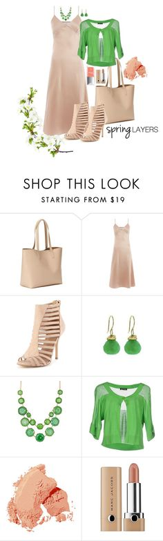 """""""Green with Envy"""" by paperdollsq ❤ liked on Polyvore featuring Old Navy, Marques'Almeida, Jamie Joseph, Natasha Accessories, Bobbi Brown Cosmetics, Marc Jacobs, Christian Dior, cutecardigan and springlayers"""