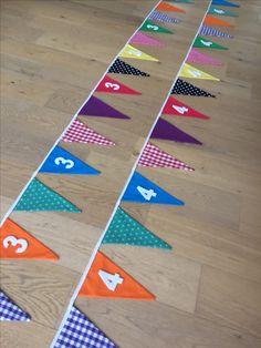 Vlaggenlijnen voor de verjaardagen van 3 en 4 jarigen! Kom maar op met het feestje! #handgemaakt #mevrouwtjesheeren