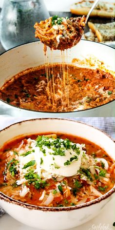 One Pot Lasagna Soup - Easy One Pot Lasagna Soup tastes just like lasagna without all the layering or dishes! Simply brown your beef and dump in all ingredients and simmer away! videos easy 3 ingredients One Pot Lasagna Soup Cooking Recipes, Healthy Recipes, Epicure Recipes, Chilli Recipes, Easy Soup Recipes, Skillet Recipes, Cooking Gadgets, Healthy Soup, Pizza Recipes