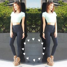 high waisted jeans and crop top - Google Search