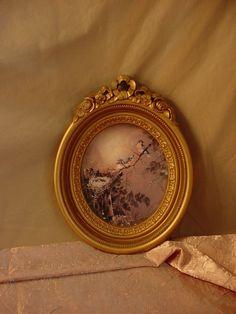 Vtg Homco Bluebirds Picture in Ornate Oval Frame Regency Victorian Roses 9 inch Seller florasgarden on ebay #bluebirds
