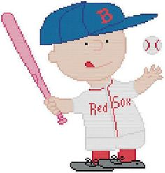 Cross Stitch Knit Crochet Plastic Canvas Waste Canvas Rug Hooking Pattern Peanuts Charlie Brown loves the Red Sox.  I made this one in a pink bat for Breast Cancer Awareness but you can make it brown.  https://www.pinterest.com/resparkled/