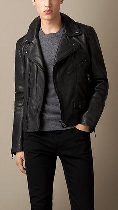 BURBERRY Black Leather Biker Jacket $1995.00 USD