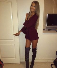 Romper with over the knee boots                                                                                                                                                                                 More