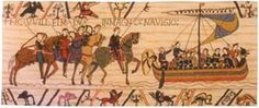 William Embarks Tapestry - Bayeux Tapestries - William the Bastard embarks to The Battle of Hastings and when he is victorious over Harold he becomes known as William the Conqueror, at last. This is a ...
