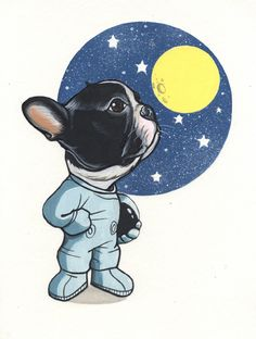 Reach for the Stars. French Bulldog drawing by Jeroen Teunen, Frenchie sketchbook page