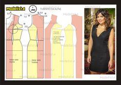 Modelagem de vestido tubinho. Fonte: https://www.facebook.com/photo.php?fbid=557480587621184=a.426468314055746.87238.422942631074981=1