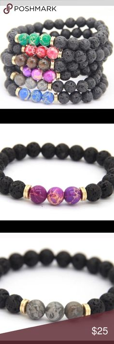 JUST IN- wonderful lava meditation bracelets These great bracelets come with raw lava stones with sacred jasper accent marble stones .  Stretchy to fit any wrist!!! Jewelry Bracelets
