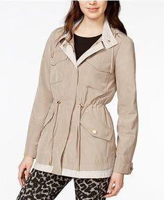 RACHEL Rachel Roy Colorblocked Hooded Anorak - Coats - Women - Macy's