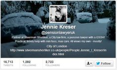 #FF the awesome Jennie Kreser (@pensionlawyeruk) - @efinancialnews The top #financial# tweeters to follow (Part II)