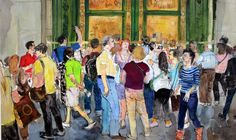 Tourists, Florence watercolour 2013 by Peter Quinn Florence, Watercolour, Modern Art, Paintings, Artists, People, Photography, Inspiration, Pen And Wash
