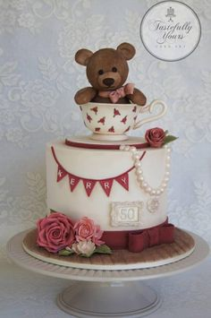 Teddy in a teacup - Cake by Marianne Bartuccelli : Tastefully Yours Cake Art (Facebook)