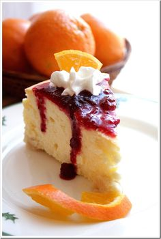 Orange and Almond Cheesecake with Cranberry Sauce  | Doughmesstic