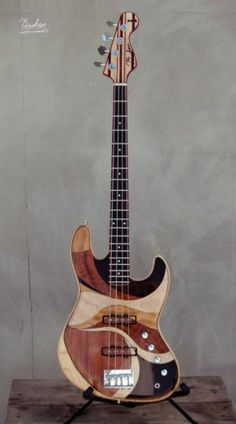 custom jazz bass by Briken (though the neck looks more like the precision template to me) roko, bubinga, 3 different maples, wenge, ashen, mahogany, paddock,rosewood, okouma,and oluşuyo    http://brikenguitars.com/