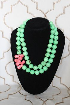 Camille Necklace - pink teardrop beads surrounded by large spring green beads, $85