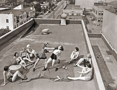 """""""Women boxing on a roof, 1938  """""""