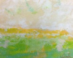 Colorful abstract seascape on paper - Love Green Sea