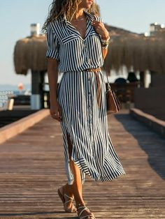 Dresses,Summer Dress,Blue Shift Women Daily Elegant Half Sleeve Paneled Striped Summer Dress,TESTW