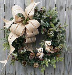 Christmas Wreath Winter Wreath Burlap Owl Wreath Snowy Greenery Snow Falling in the Forest Burlap Winter Wonderland No Red by HornsHandmade on Etsy https://www.etsy.com/listing/208499621/christmas-wreath-winter-wreath-burlap