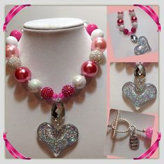 Valentines pink white bubbble gum necklace heart pendant on Etsy, $18.00