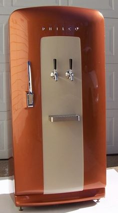 Kegerator in the heart of a 1952 Philco refrigerator.