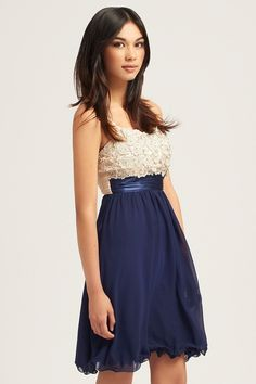 Little Mistress Cream & Navy Applique Embellished Dress