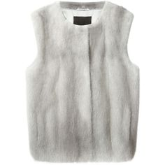 Liska mink fur gilet (17.595 DKK) ❤ liked on Polyvore featuring outerwear, vests, grey, mink fur vest, gray vest, grey vest, mink vest and liska