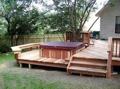 Exactly what we are going to do with our hot tub. Half in the deck and half out. - Exactly what we are going to do with our hot tub. Half in the deck and half out the deck. Deck Design Tool, Patio Design, Garden Design, Hot Tub Backyard, Backyard Patio, Sunken Patio, Flagstone Patio, Patio Wall, Whirlpool Deck