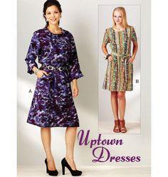 """Uptown Dresses FABRICS: Designed for lightweight woven fabrics. Suggested Fabrics: Cotton, cotton types, challis georgette, silk, linen, rayon & blends. Pattern includes 5/8"""" (1.5 cm) seam allowances.  Pull-over dresses have slightly dropped waist, boat neckline, elastic in casing at waist, and self fabric tie belt. View A has a bias cut fold-over collar and elbow length sleeves with fold-up cuffs. View B has neckline finished with bias cut binding and short sleeves. Pockets on skirt are…"""