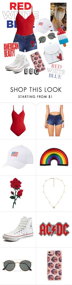 """""""Independence Day/ Fourth of July BBQ"""" by mcfallangel ❤ liked on Polyvore featuring On the Island, Charlotte Russe, Gucci, Converse, AC/DC, Ray-Ban and Forever 21"""