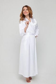Long White Dressing Gown/ White Satin Robe/ Brides Wedding Robes/ Bathrobe Next Day Delivery/ Honeymoon Lingerie/ Wedding Presents Gifts/