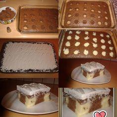 Κέικ σοκολατένιο με πουτίγκα Υλικά για το κέικ : 3 αυγά 1 φλ. ζάχαρη 1 φλ. χλιαρό γάλα 1 φλ. σπορέλαιο 2 φλ. και 2 κ.σ. αλεύρι 1 κ.σ. κακάο 2 κ.γ. μπέικιν πάουντερ 1 βανίλια Δείτε ακόμη:Το καλύτερο σοκολατένιο κέικ που υπάρχει από την
