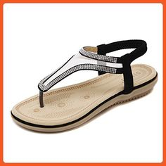 AGOWOO Womens Stylish Ventilated Beaded Beach Sandals Black 36 6 D(M) - Sandals for women (*Amazon Partner-Link)