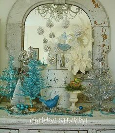 "I have a wonderful collection of ""Vintage Blue Christmas Items"". In years past I have decorated our guest bedroom with these ""retro"" ~ Primitive Christmas, Merry Christmas, Shabby Chic Christmas, Christmas Items, Christmas Love, All Things Christmas, Vintage Christmas, Christmas Holidays, Christmas Crafts"
