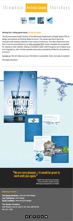 Drinking Water brochure for Minnesota Department of Health newsletter by The Design Company Environmental Health, Brochure Design, Drinking Water, Minnesota, Have Fun, Infographic, Cook, Technology, Drinks