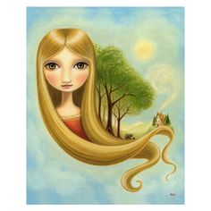 nursery art Girl and bear print woodland bears print goldilocks... ($18) ❤ liked on Polyvore featuring home, home decor, wall art, mountain home decor, yellow home accessories, fall oil painting, mountain oil paintings and mountain wall art
