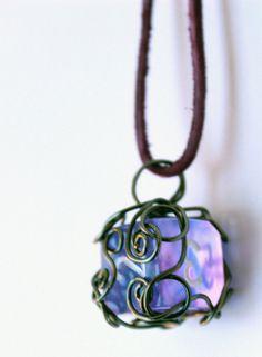Wire-wrapped sparkle purple D6 dice necklace