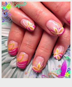 Gel Nails-Jazzberry tips with flowers