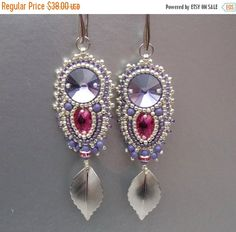 Check out Christmas sale Bead embroidery,  Earring, Seed bead jewelry, Christmas gift,  Trending jewelry, Embroidery jewelry, Swarovski, Silver, Lilac on vicus