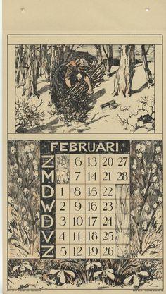 Nunspeetse boerin die brandhout verzameld met rond de maand sneeuwklokjes en wilgenkatjes