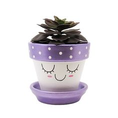 Add a cute touch to your home or office with this unique handpainted terracotta pot with cute face and metallic pink cheeks by Timberline Studio. Perfect for small indoor plants such as air plants, succulents, or cacti (or a faux one, if you prefer). Looks beautiful in a sunny window.  #succulents #handmade #planter #planters #decor #purple #violet #homedecor #plants #cacti #cute