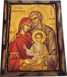 THE HOLY FAMILY - Orthodox Byzantine icon on wood handmade - Greece