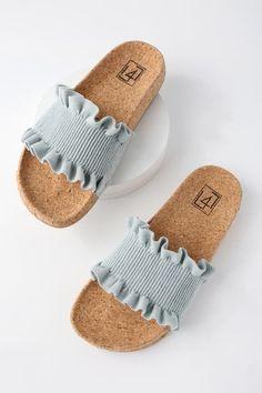 - Alexa Denim Slide Sandals - - LFL Alexa – Denim Sandals – Slide Sandals – Cork Sandals Source by Kathfie Schuhe Denim Sandals, Cork Sandals, Slide Sandals, Shoes Sandals, Sandal Heels, Birkenstock Sandals, Fila Sandals, Trendy Sandals, Strappy Sandals