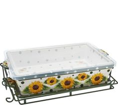 Temp-tations Sunflower Baker w/Lid-it, Wire Rack and Storage Lid in Green