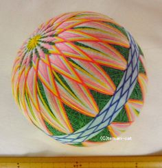 てまり「菊」緑地桃花水色帯 10cm 手まり 手毬 手鞠|その他インテリア雑貨|てまり - ねこ|ハンドメイド通販・販売のCreema