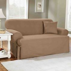 Sure Fit Cotton Duck Sofa Slipcover - Home Furniture Design Loveseat Slipcovers, Furniture Slipcovers, Furniture Covers, Cushions On Sofa, Furniture Making, Living Room Furniture, Home Furniture, Furniture Design, Couch Covers