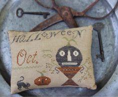 "STACY NASH PRIMITIVES | ""Halloween Pinkeep"" | Primitive Cross Stitch Pattern, Leaflet, Chart for a Pinkeep | Autumn Cross Stitch"