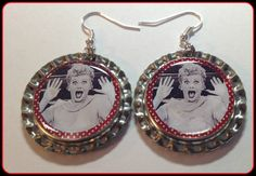 I Love Lucy Unique Custom made Earrings by SportsnBabyCouture